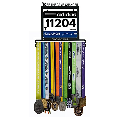 Wall Mounted Medal Hanger| Medal Rack for Runners, Gymnastics, Soccer, Wrestling, Athletics | Unique Race Bib Holder and Medal Display Frame by AJ Gear (Medal Runner Bib Display)