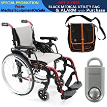 Karman S-Ergo 305 Ultra Lightweight Ergonomic Wheelchair | Adjustable Seat Height | Seat size 18 X 17 | Frame Color Rose Red & FREE 130 dB Silver Safety Alarm! + Black Medical Utility Bag With Trim!
