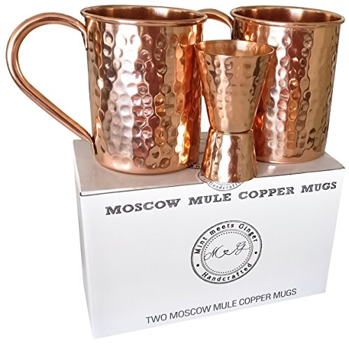 Mint Meets Ginger Moscow Mule Copper Mugs - 100% Pure Solid Copper Mugs (Set of 2) 16 Ounce Unlined Hammered Copper Cups plus Liquor Jigger and E-book with Moscow Mule Recipes