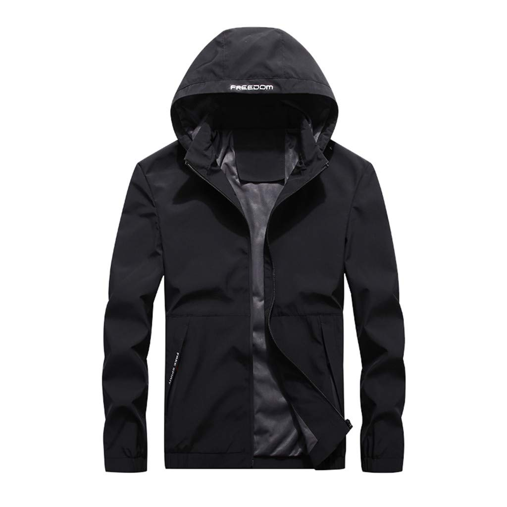 HebeTop  Men's Hooded Waterproof Fleece Ski Jacket Windproof Parka Winter Coat Black by HebeTop➟Men's Clothing
