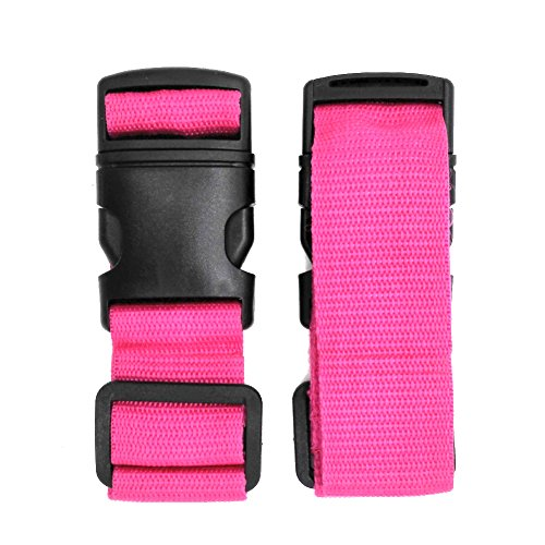 - Pack of 2 Add-A-Bag Luggage Strap, Baggage Suitcase Adjustable Belt Straps Travel Accessories Attachment - Connect Your Three Luggages Together, Rose Red