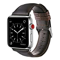 Genuine Leather Band for Apple Watch 1/2/3 - Real Leather Strap for Apple Watch 38mm & 42mm