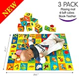 MACIK PlayingMat+6 soft blocks for baby Toy SET+Book-teether-rattle-crinkle-squeak- Baby teething...