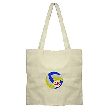 Custom Embroidery Monogram 1 Letter Sport Volleyball Frame Cotton Canvas  Flat Market Tote Bag 92b363dfb632a