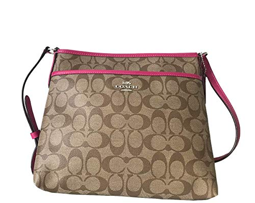 Coach Signature Zip File Crossbody Bag (Khaki Cerise)