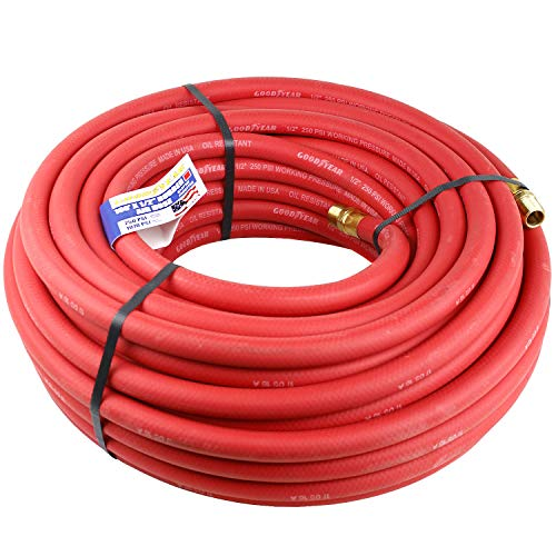 Goodyear Air Hose 12732 Red Rubber Air Hose 100 x 3/8 Weather Oil and Solvent Re