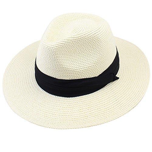 Panama Straw Fedora - FURTALK Panama Roll up Hat Fedora Beach Sun Hat UPF50+ Braid Straw Short Brim Jazz Panama Cap For Women Men