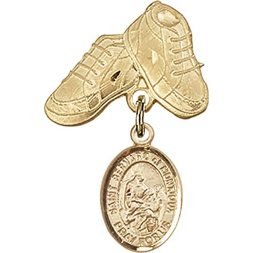 14kt Yellow Gold Baby Badge with St. Bernard of Montjoux Charm and Baby Boots Pin 1 X 5/8 inches