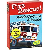 Peaceable Kingdom Fire Rescue! 24 Card Number Match Up Memory Game and Floor Puzzle for Kids