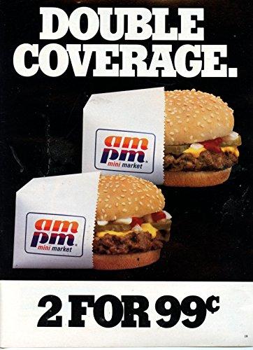 "AM PM Mini Market Vintage Magazine Ad- ""Double Coverage"""