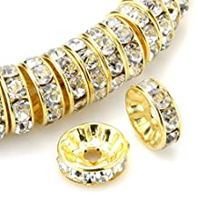 RUBYCA 100pcs Round Rondelle Spacer Bead Gold Tone 10mm White Clear Czech Crystal