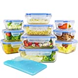 Zestkit 20 Pieces Glass Food Storage Containers Set with Airtight Locking Lids and Free Ice Pack , Heat Resistance 750?, BPA Free Oven Freezer Dishwasher and Microwave Safe Lunch Containers (231 oz)