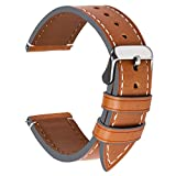 4 Colors for Watch Band, Fullmosa Top Leather Watch Strap Replacement 22mm,Light Brown + Silver Buckle
