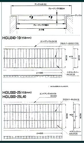 U字溝用 グレーチング 適用みぞ幅180mm (中型トラック用) (長さ995mm 幅170mm 高さ25mm) HGU-180-25