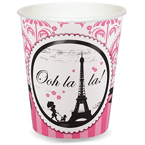 Paris Eiffel Tower Damask Party Supplies - 9 oz. Paper Cups (8)