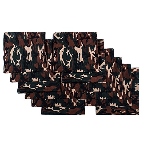 Elephant Brand Bandanas 100% cotton since 1898-12 Pack (Camouflage)
