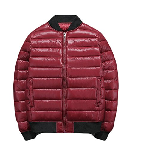 GRMO Men's Solid Zip-up Quilted Padding Down Jackets Bomber Puffer Coats Wine Red