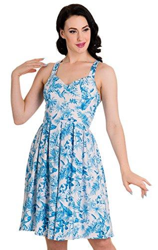 Blüten Kleid Hell Damen Weiß Esme Bunny mit Blau Trägerkleid xwxHUgIW