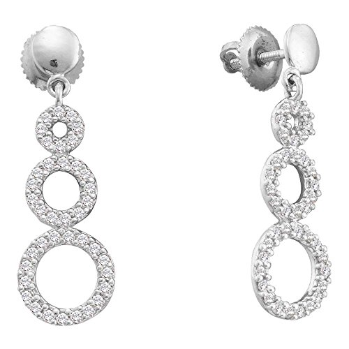 Roy Rose Jewelry 14K White Gold Womens Round Diamond Triple Circle Dangle Screwback Earrings 3/8-Carat tw
