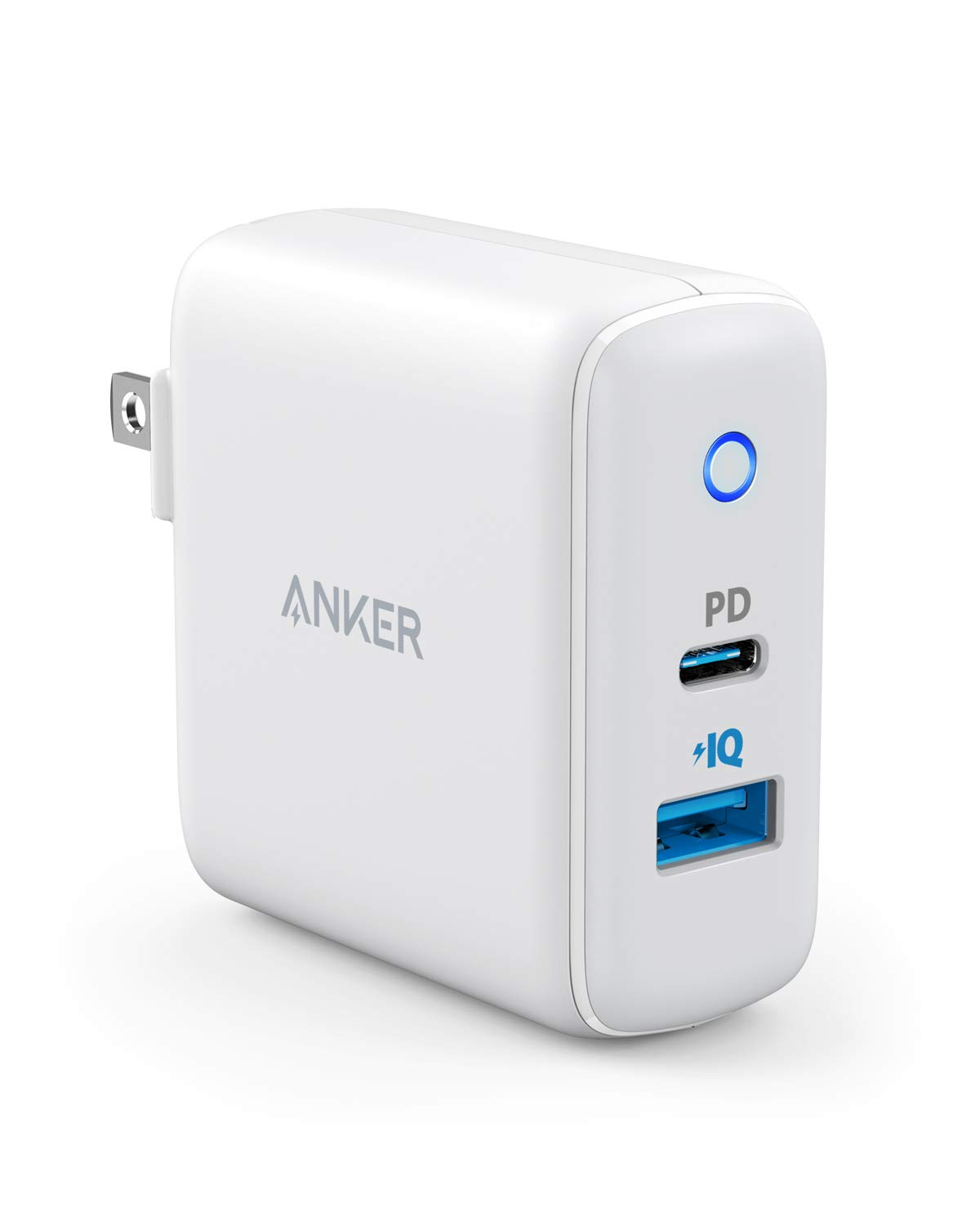 USB C Wall Charger, Anker 30W 2 Port Compact Type C Charger with 18W Power Delivery and 12W PowerIQ, PowerPort PD 2 with Foldable Plug for iPad Pro 2018, iPhone Xs/Max/XR/X/8, Pixel, S10/S9, and More