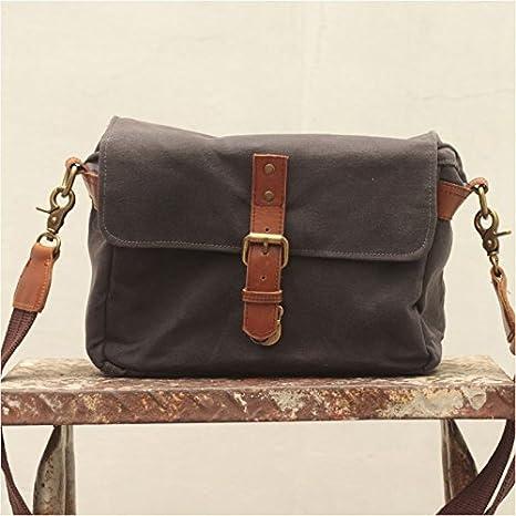 13e512d034e4 Handmade Waxed Canvas Compact Camera Messenger Bag - Asphalt Grey