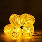 RECESKY Solar Powered Lantern String Lights 30LED 19.7ft Fairy Fabric Globe Christmas Decorative lighting for Outdoor, Indoor, Garden, Patio, Lawn, Yard, Home, Party, Curtain Decorations (Warm White)