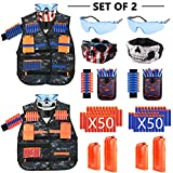 MIBOTE [2 Packs] Kids Tactical Vest Kit for Nerf Guns N-Strike Elite Series Gun Wars with Refill Darts, Reload Clips, Dart Pouch, Tactical Mask, Wrist Band and Protective Glasses for Boys/Girls