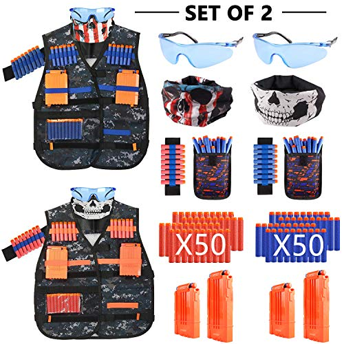 Elite Tactical Vest - MIBOTE [2 Packs] Kids Tactical Vest Kit for Nerf Guns N-Strike Elite Series Gun Wars with Refill Darts, Reload Clips, Dart Pouch, Tactical Mask, Wrist Band and Protective Glasses for Boys/Girls