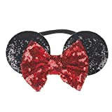 Headbands For Kids MINNIE Sequins Hair MOUSE Girls Baby EARS Bow knot (Red and Black)