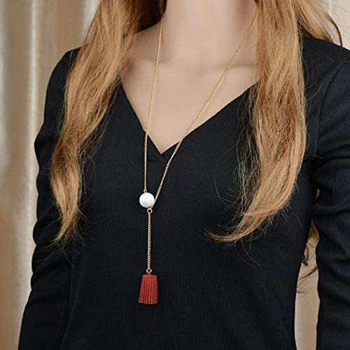 Gostear Simple Turquoise Velvet Tassel Pendant Sweater Necklace Long Chain for Women Fashion Jewelry