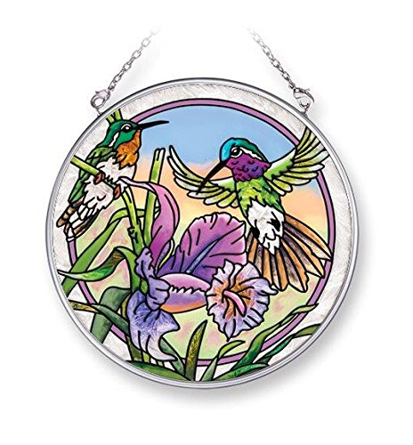 Iris Circle (Amia 42073 4-1/2-Inch Hand Painted Glass Circle Suncatcher, Medium, Iris and Hummingbird Design)