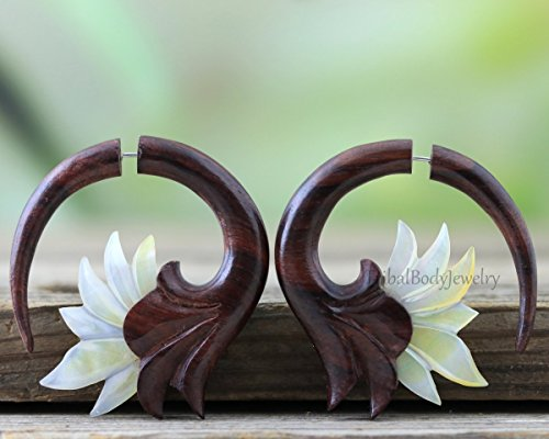Organic Hand Carved Mother of Pearl and Sono Wood Faux Gauge Flower Earrings Handmade Jewelry