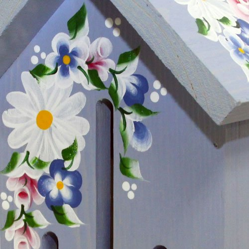 Nature Gift Store Butterfly House: Blue with Hand Painted Roses and Daisies, Hand Made in Wisconsin USA