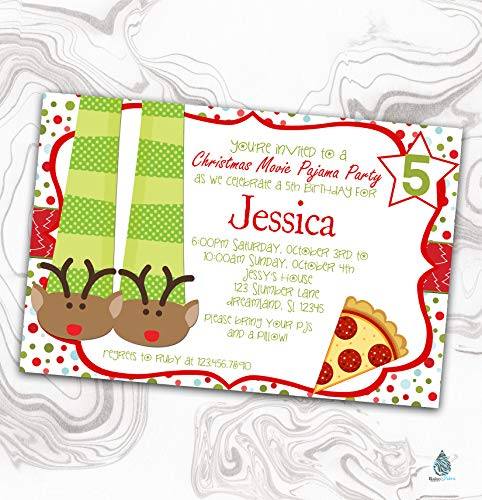 Christmas Pajama Party Invitation - Xmas Movie Night Sleepover Birthday Invite - Slumber - pizza - 4x6