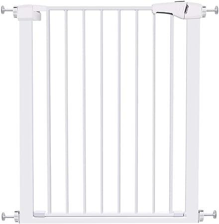 Barrera seguridad Puertas estrechas for bebés for escaleras Escaleras - Puerta for mascotas for perros de metal blanco con montaje a presión, pasarela, 61-96 cm de ancho Barandilla resistente a los go: