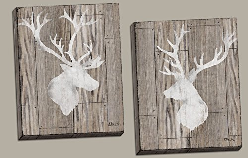 Gango Home Décor Beautiful Contemporary Deer and Elk Silhouettes on a Faux Wood Style Background; Lodge Decor; Two 16x20in Hand-Stretched Canvases! Brown/White