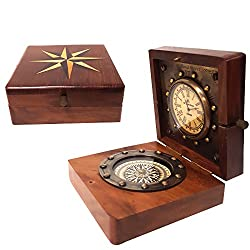 New Nautical Ship Compass Wooden Box Compass & Watch Vintage Gift (Square)