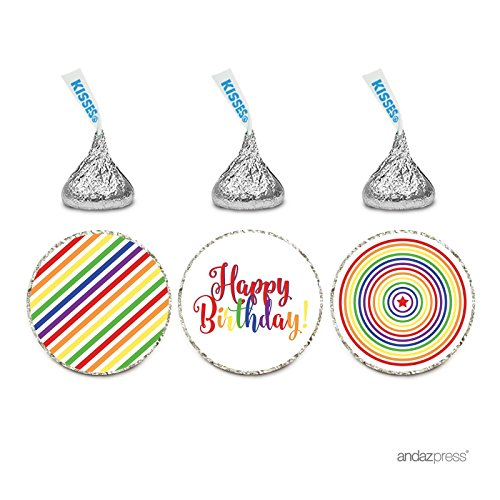 (Andaz Press Birthday Chocolate Drop Labels Trio, Fits Hershey's Kisses Party Favors, Rainbow Stripes, Rainbow Concentric Circles, Happy Birthday! 216-Pack)