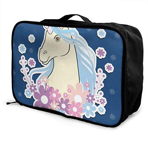 Travel Bags Unicorn Floral Portable Handbag Trolley Handle Luggage Bag