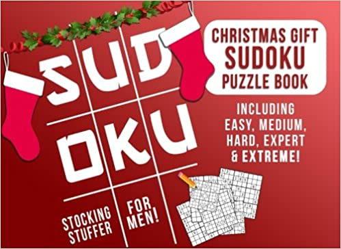 stocking stuffers for men christmas gift sudoku puzzle book including easy medium hard expert extreme mens stocking stuffer ideas christmas gifts