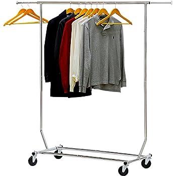 Amazon.com: Plegable Single Rail Rolling vendedor Garment ...