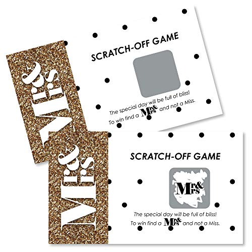Big Dot of Happiness Mr. & Mrs. - Gold - Wedding and Bridal Shower Game Scratch Off Cards - 22 Count