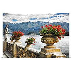 Balustrade with Lake View, Villa Balbianello, Lenno, Lake Como Poster Print