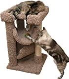 Small Cat Tree Bed Brown 33 inch Carpet Cat Furniture Wood with Sisal Rope Large Cats Review