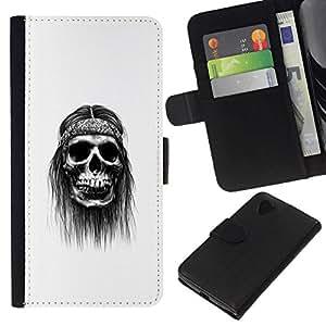 NEECELL GIFT forCITY // Billetera de cuero Caso Cubierta de protección Carcasa / Leather Wallet Case for LG Nexus 5 D820 D821 // Hippy cráneo