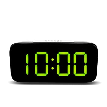 Winbang Reloj Despertador, Pantalla LED Digital Control de Voz Reloj de cabecera Reposo eléctrico Noche Retroiluminación Relojes Batería USB Dos Modos de ...