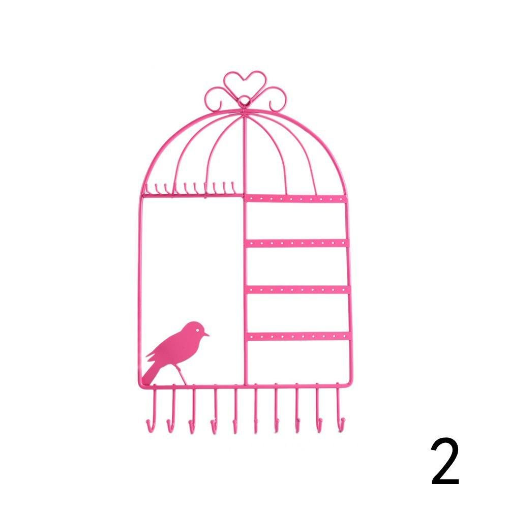 Cool Ring Iron Creative Birdcage Jewelry Necklace Bracelet Earrings Display Stand Wall Hanging Frame (Pink) 0001