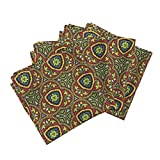 Roostery Stained Glass Medieval Geometric Bright Window Leading Organic Sateen Dinner Napkins Stained Glass ~ Emma by Peacoquettedesigns Set of 4 Dinner Napkins