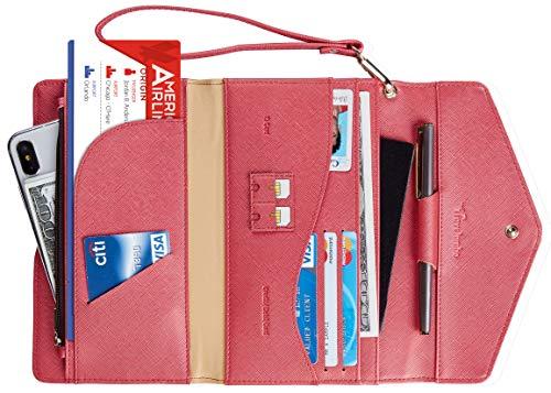 Travelambo Rfid Blocking Passport Holder Wallet & Travel Wallet Envelope Various Colors (CH Gold Reddish)