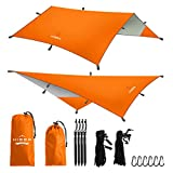 Hisea Hammock Rain Fly Tent Tarp Shelter 3m x 3m – Waterproof lightweight Rainfly Sun Shelters and Sunshade for Outdoor Camping Picnic Travel Beach Hiking Fishing,Orange